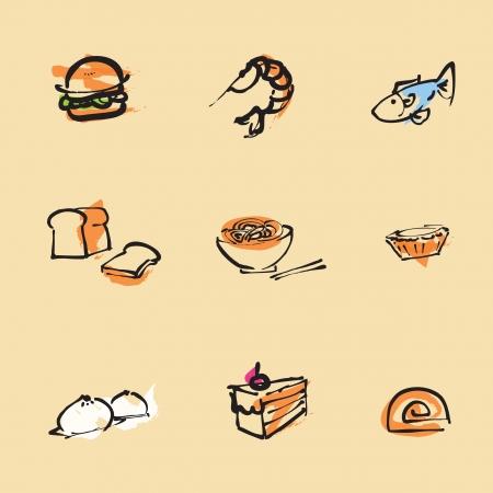 Food Chinese brush icon set  Illustration