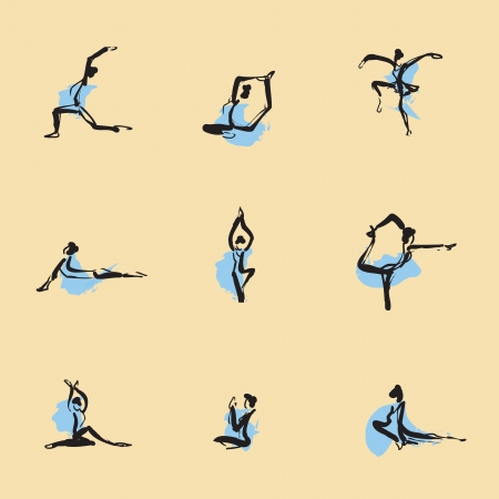 flexible woman: Yoga Chinese brush icon drawing set