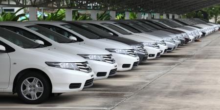 UBON RATCHATHANI, THAILAND – SEP 30, 2013 : Honda cars in dealer stock prepare for sales on Sep 30, 2013 in Ubon Ratchathani, Thailand.