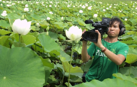 taking video: UBON RATCHATHANI, THAILAND - OCT 14, 2013 : Unidentified man taking video recorder in lotus farm as a reporter for organic agriculture documentary on Oct 13, 2013 in Detudom, Ubon Ratchtahni, Thailand.