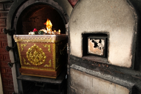 cremated: Coffin in crematory Thai traditional funeral