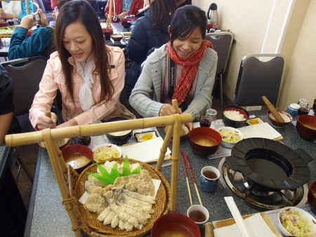 HAKONE, JAPAN  - Mar 26, 2010   Unidentified Asian ladies have lunch in Japanese restaurant on Mar 26, 2010 in Hakone, Kanakawa, Japan