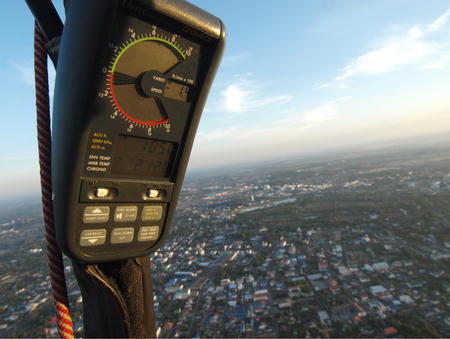 altimeter: UBON RATCHATHANI, THAILAND – JAN 14, 2012 : Altimeter on balloon while flying over the town in International Balloon festival on Jan 14, 2012 in Ubon Ratchathani, Thailand Editorial
