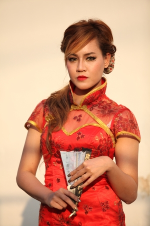 Portrait of woman in Chinese dress photo