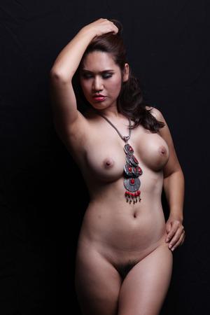nude pose: Transgender model nude pose in studio