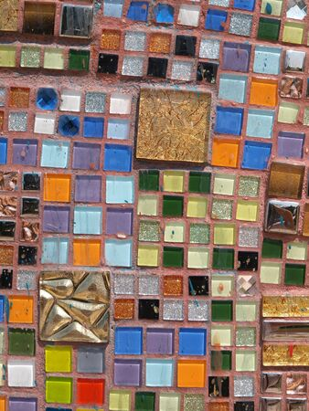 Mosaic pattern colorful brick background photo