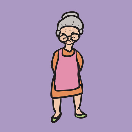 Character drawing of old smiley woman Vector
