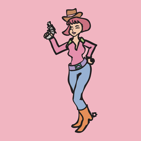 Cowgirl holding a gun in her hands Vector