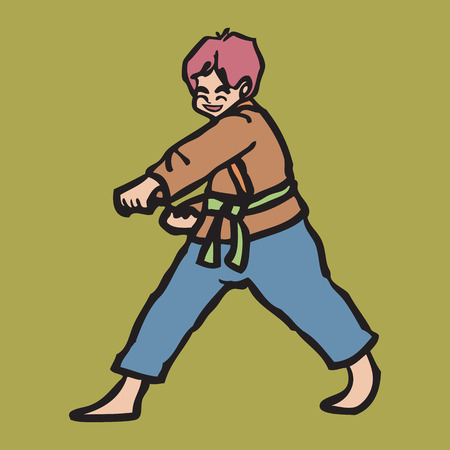 Japanese martial art boy punching Vector