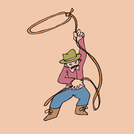 Cowboy with rope as a lasso Vector