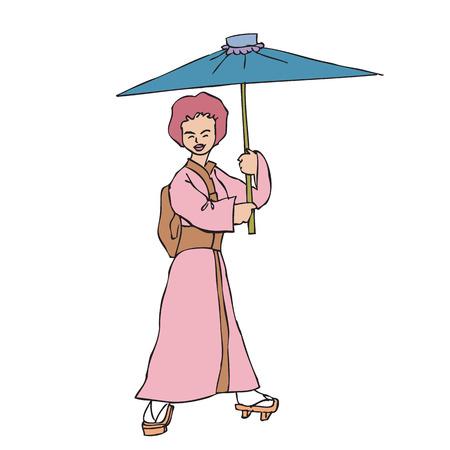donna giapponese: Donna giapponese in kimono ombrello della holding