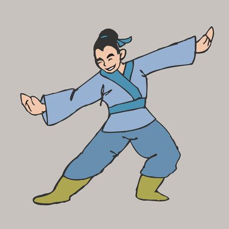 Chinese martial art boy posing