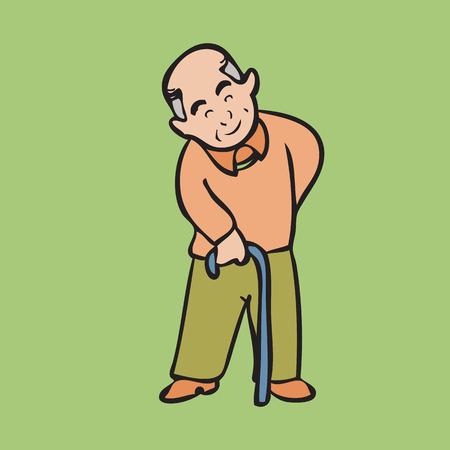 benign: Cartoon character of Asian grandpa Illustration