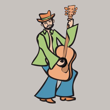 beard man: Cartoon character beard man playing guitar Illustration