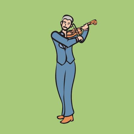 perform: Mustache musician perform classical violin Illustration