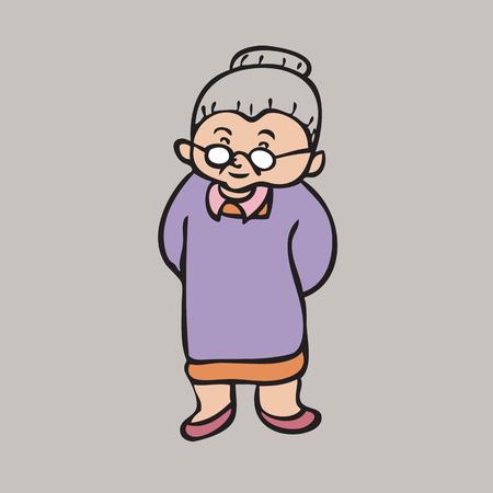 Cartoon character of Asian grandma