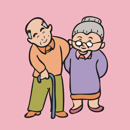 Cartoon character of Asian grandparents