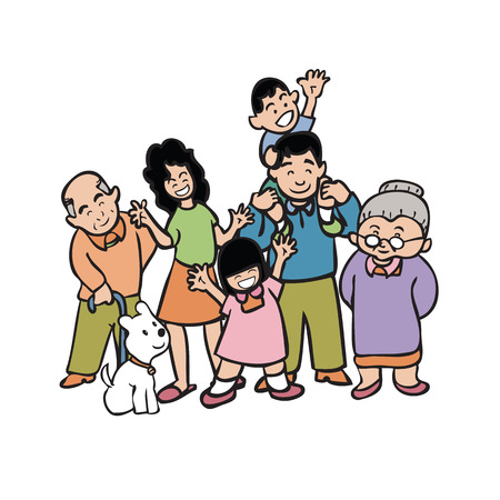 Cartoon character of big warm family
