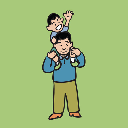 piggyback ride: Cartoon character of dad and son Illustration