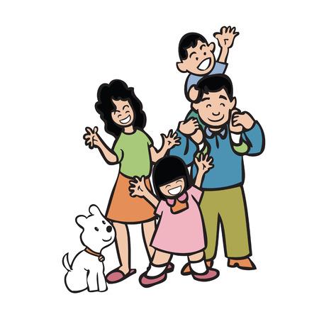 familia asiatica: Personaje de dibujos animados de la familia asi�tica Vectores
