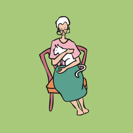 peasant woman: Grandma holding white cat sitting on pink chair