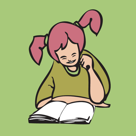 Cartoon character pigtail girl reading book Vector