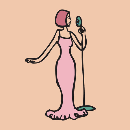Cartoon character of singer in pink dress Vector