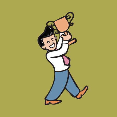 Businessman holding gold trophy of success Vector