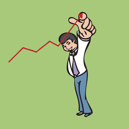 Businessman pointing to lead the graph Vector