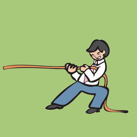 man of war: Businessman holding rope for tug of war Illustration
