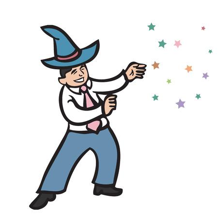 wizard hat: Businessman wear wizard hat of magic