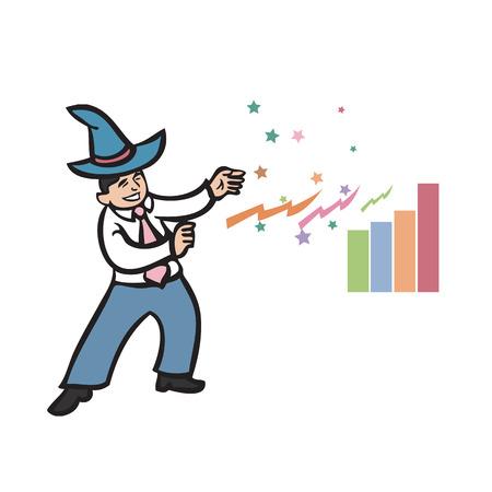 whiz: Businessman wear wizard hat of magic