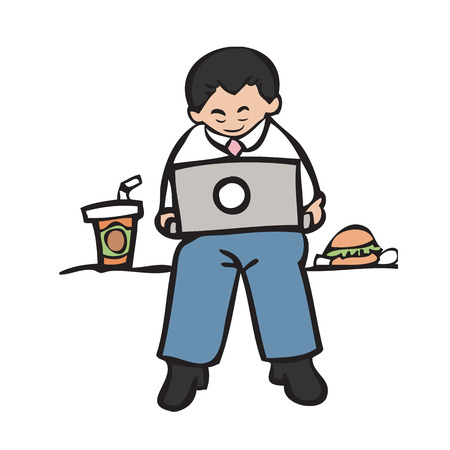 laptop outside: Businessman working with laptop and snack Illustration