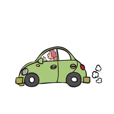 Character cartoon of beetle car Vector