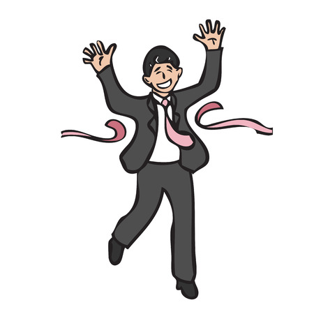 Businessman running to finish line Vector