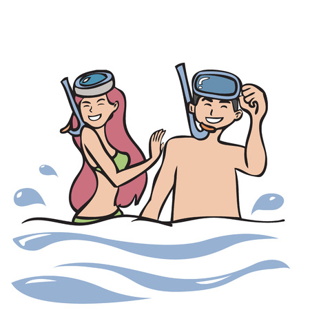 Man and woman with snorkel masks Vector