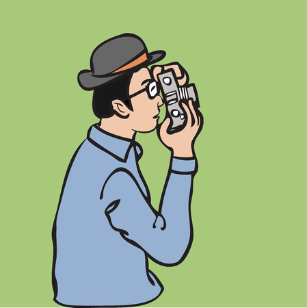 Man with camera as a photographer Vector