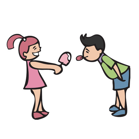 Girl and boy sharing ice cream Vector