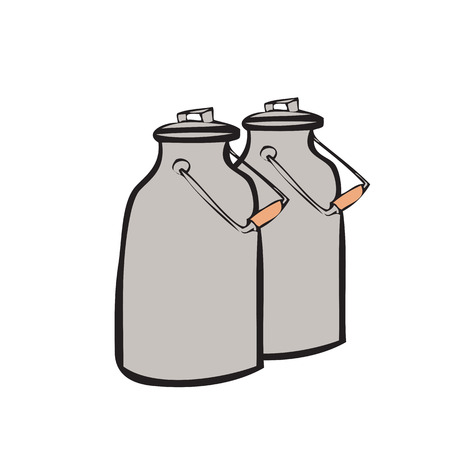 Cartoon drawing of milk tanks Vector