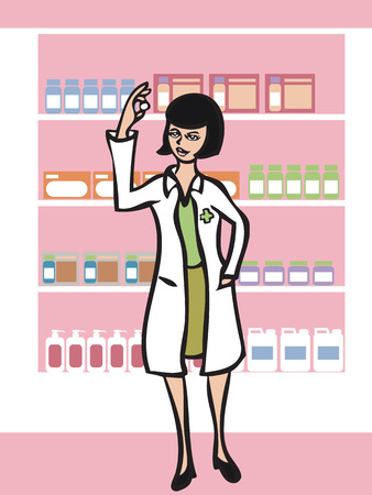 Cartoon character of pharmacist in drugstore Vector