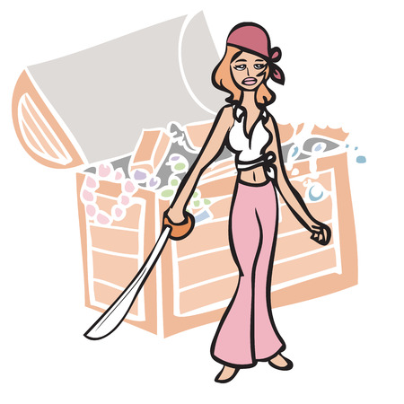 Cartoon character of sexy pirate with sword Vector