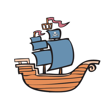 Cartoon character of pirate ship Vector