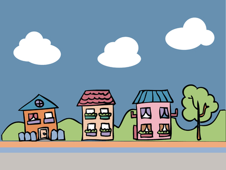 Cartoon drawing of town view Vector