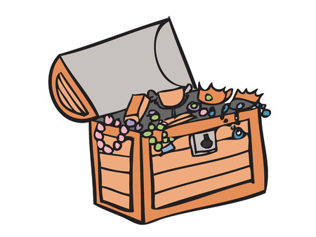 Cartoon drawing of pirate treasure Vector