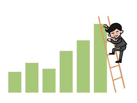 Businessman on ladder climbing on chart Vector