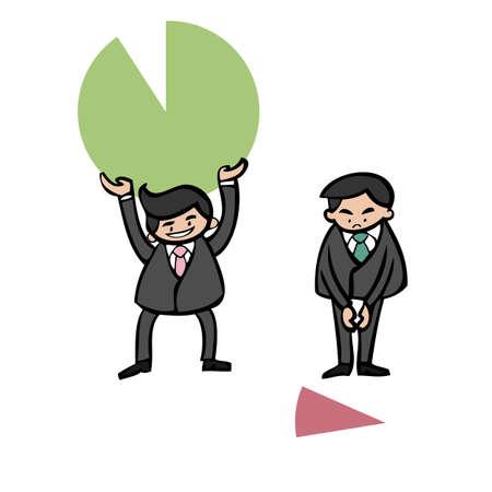 unequal: Businessmen holding unequal pie chart