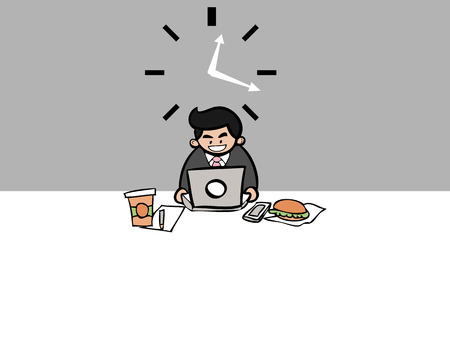 workaholic: Businessman workaholic work over lunch time