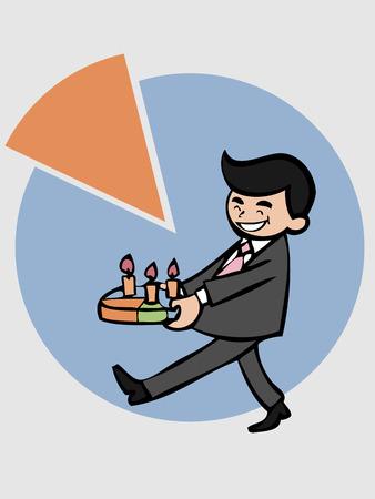 craving: El hombre de negocios que sostiene la torta pastel para celebrar