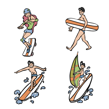 Teen character wind surf skateboard set Vector