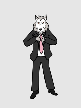 working man: Businessman wolf man in business suit